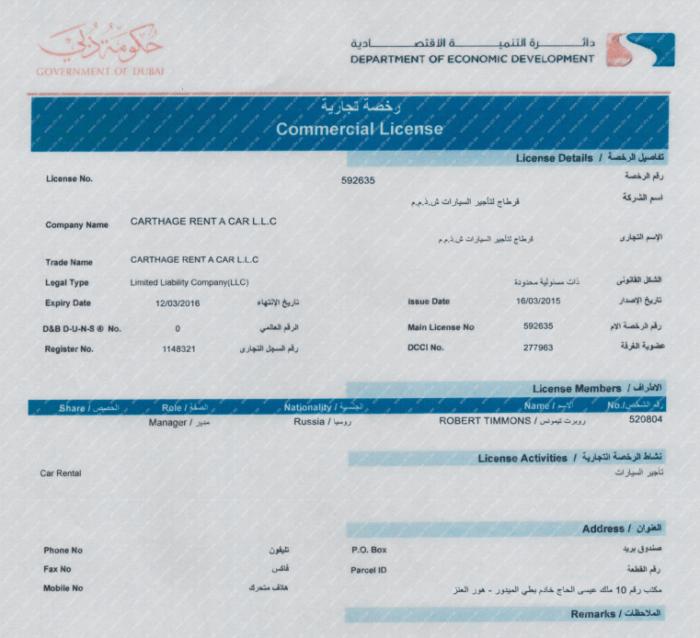 Пример: регистрация в Дубаях